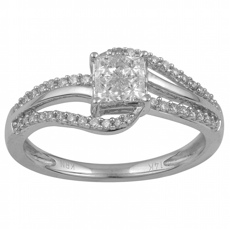 50b778cb4c031 Tradition Diamond 10K White Gold .5 CTTW Certified Diamond Invisible ...