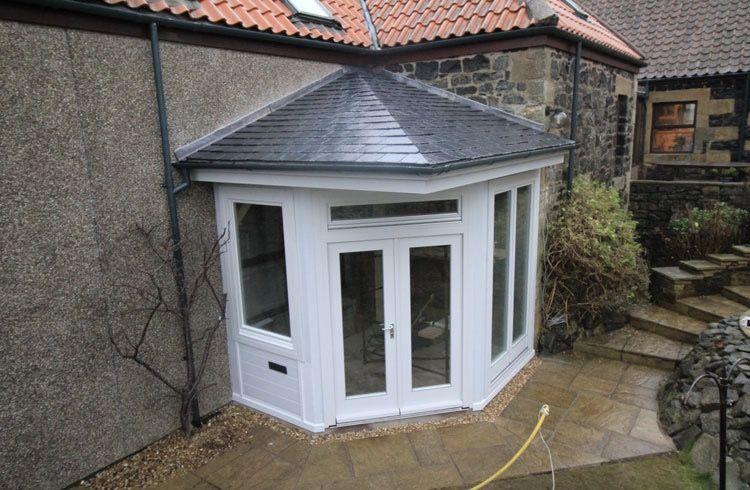 White Upvc Corner Porch House With Porch Porch Design Porch Extension