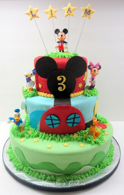 Stupendous Mickey Mouse Clubhouse 3 Tier Cake With Images Mickey Mouse Personalised Birthday Cards Veneteletsinfo
