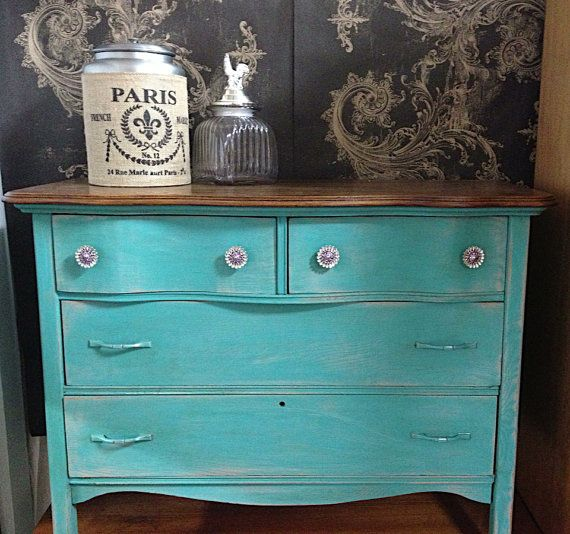 CHALK PAINT FURNITURE Turquoise Blue Vintage Antique Dresser  Stained Wood  Top  Shabby Cottage Chic. CHALK PAINT FURNITURE Turquoise Blue Vintage Antique Dresser