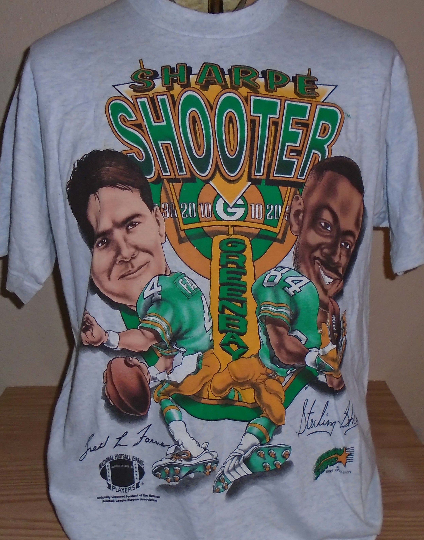 Vintage 1990s Brett Favre Sterling Sharpe Green Bay Packers Cartoon T Shirt Large Free Shipping Cartoon T Shirts Cartoon Green Bay
