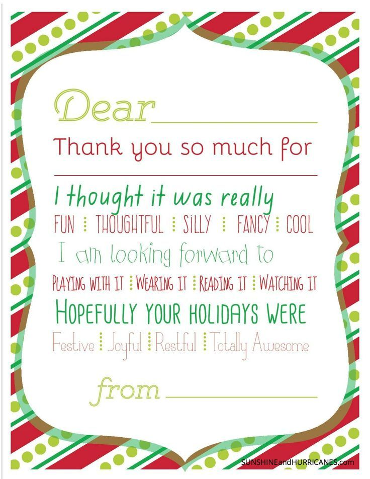 Christmas Printable Thank You Cards For Kids  Gratitude Note And Child