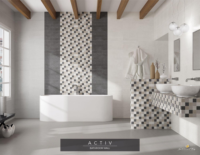 Urban Style Bathroom Design Wall Tiles Activ Moon Taupe Graphite Mix Cube Mosaic Effect Decor Bathroom Interior Design Urban Style Bathroom Tile Floor