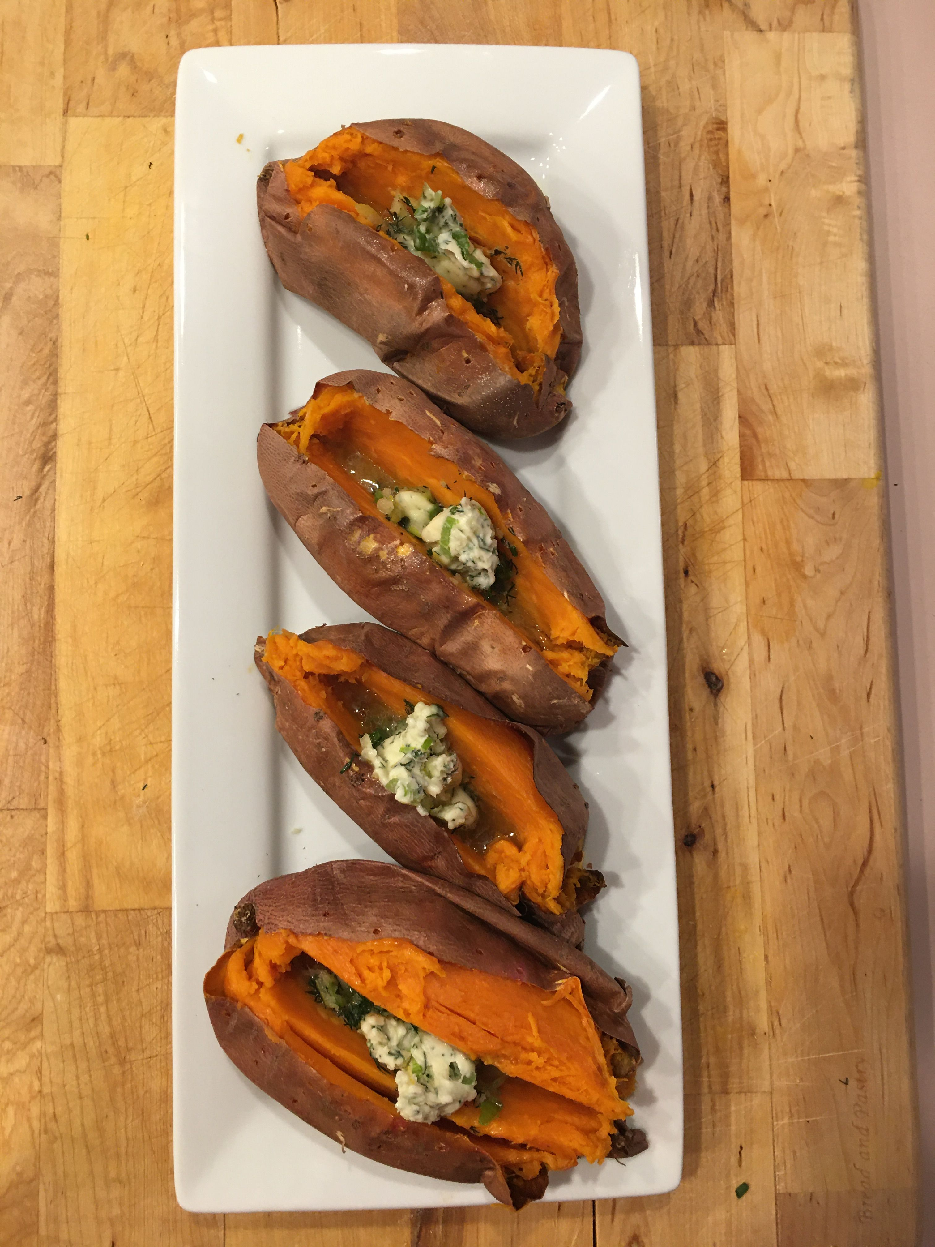 Baked Sweet Potatoes With Dill Butter Sweet Potato Plant Based Whole Foods Recipes