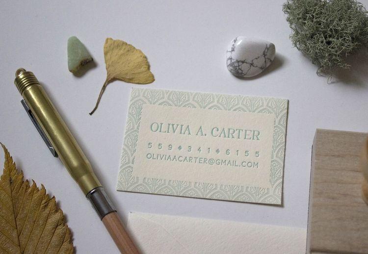Olivia Carter business card by Eva Moon Press