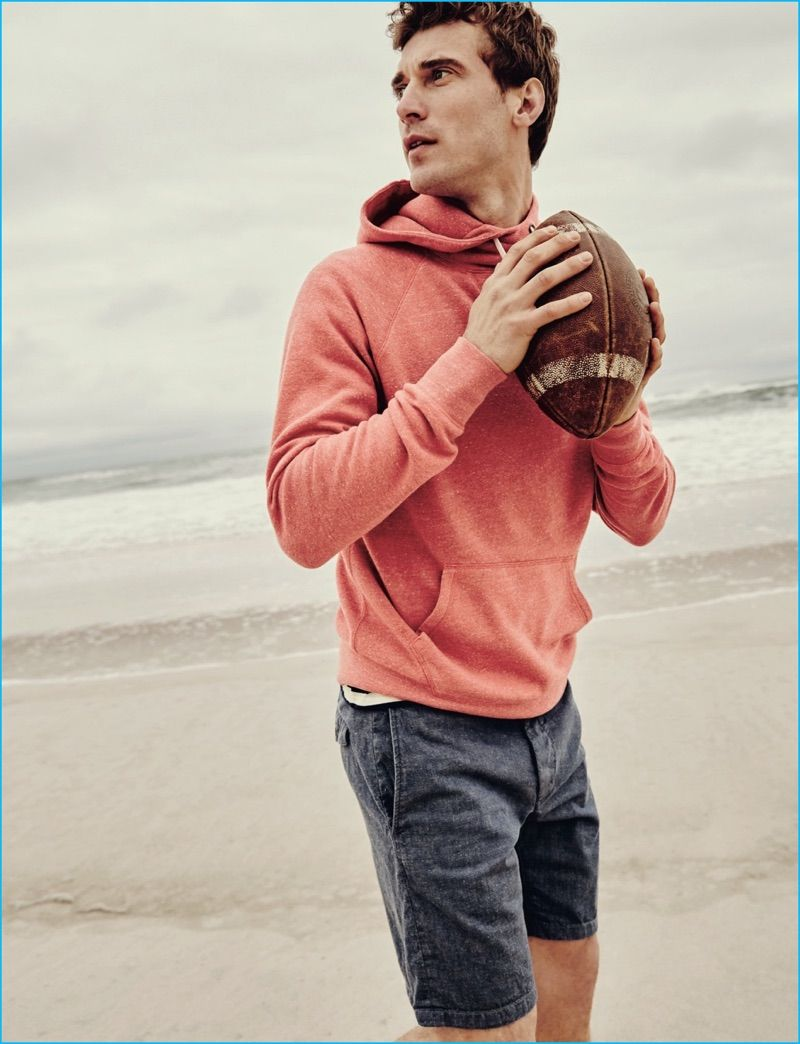 93fdc6d8f682 Clément Chabernaud is a casual vision in a J.Crew brushed fleece hoodie