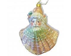 Christmas Ornaments | Coastal Glass Shell Santa Head Ornament,