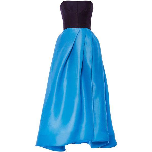 Monique Lhuillier Color-Block Gazar Strapless Dress (4.510 BRL) ❤ liked on Polyvore featuring dresses, monique lhuillier, color block dresses, wet look dress, colorblock dresses, wetlook dress and monique lhuillier dresses