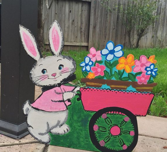 Easter Bunny Yard Decor Vintage Look Easter Bunny By CreativChick