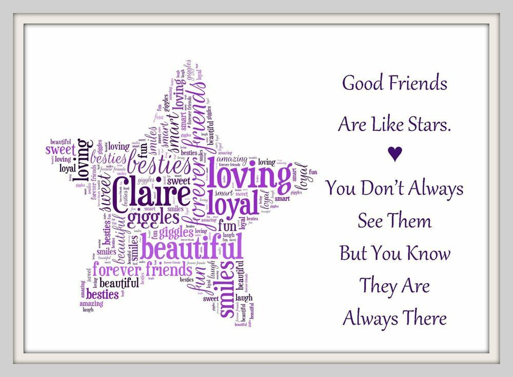 Personalised photo print A4 Print Friendship quote Birthday best friend gift