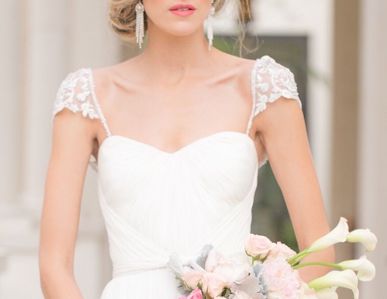 Detachable cap sleeves beaded and appliqued lace cap for Wedding dress detachable sleeves