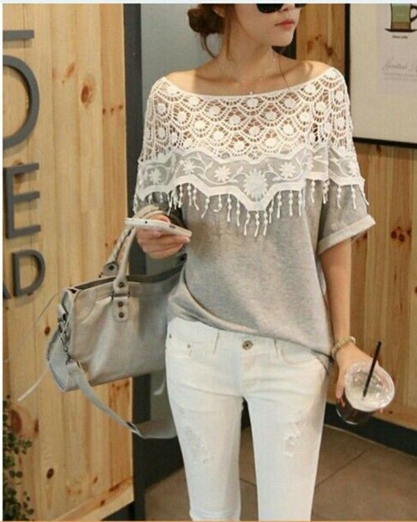 d5873223 Lovely Lace and Gray Combo | Cute Cardigans | Cutout shirts, White ...