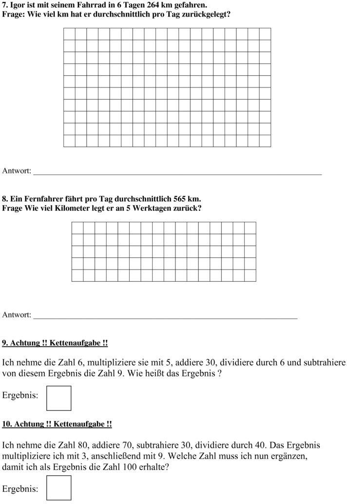 Klassenarbeit zu Schriftliche Rechenverfahren | Mathe | Pinterest ...