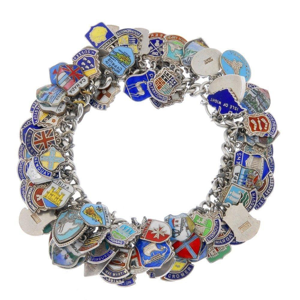 93 Fully Loaded Enamel On Silver Travel Charms Sterling Vintage Charm Bracelet
