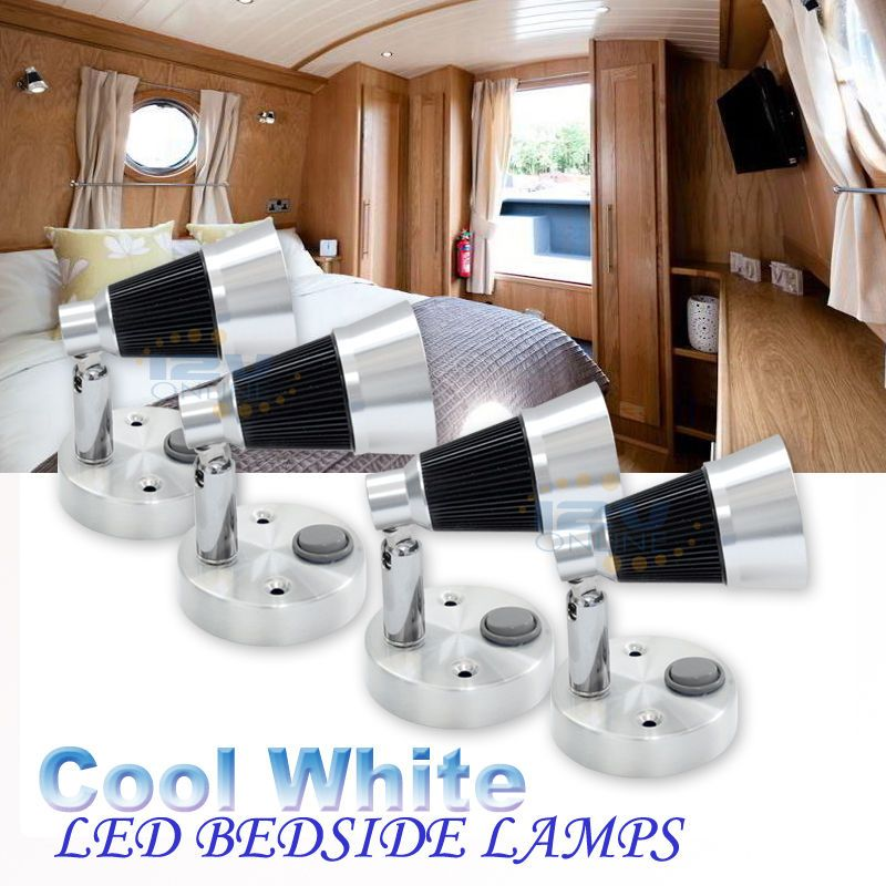 Rv Led Bedside Reading Lights With Glass Shade Trailer Boat Interior 12v Warm W Bedside Reading Light Awning Lights Light Trailer