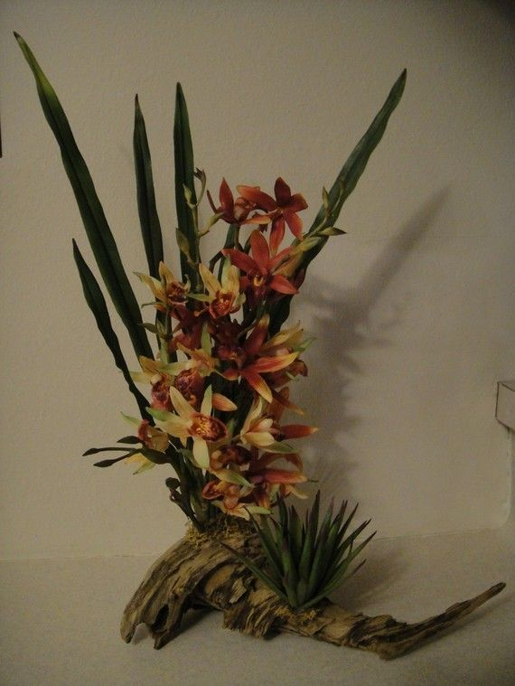 Orchid and aloe on driftwood by designsbytgt on Etsy, $69.95