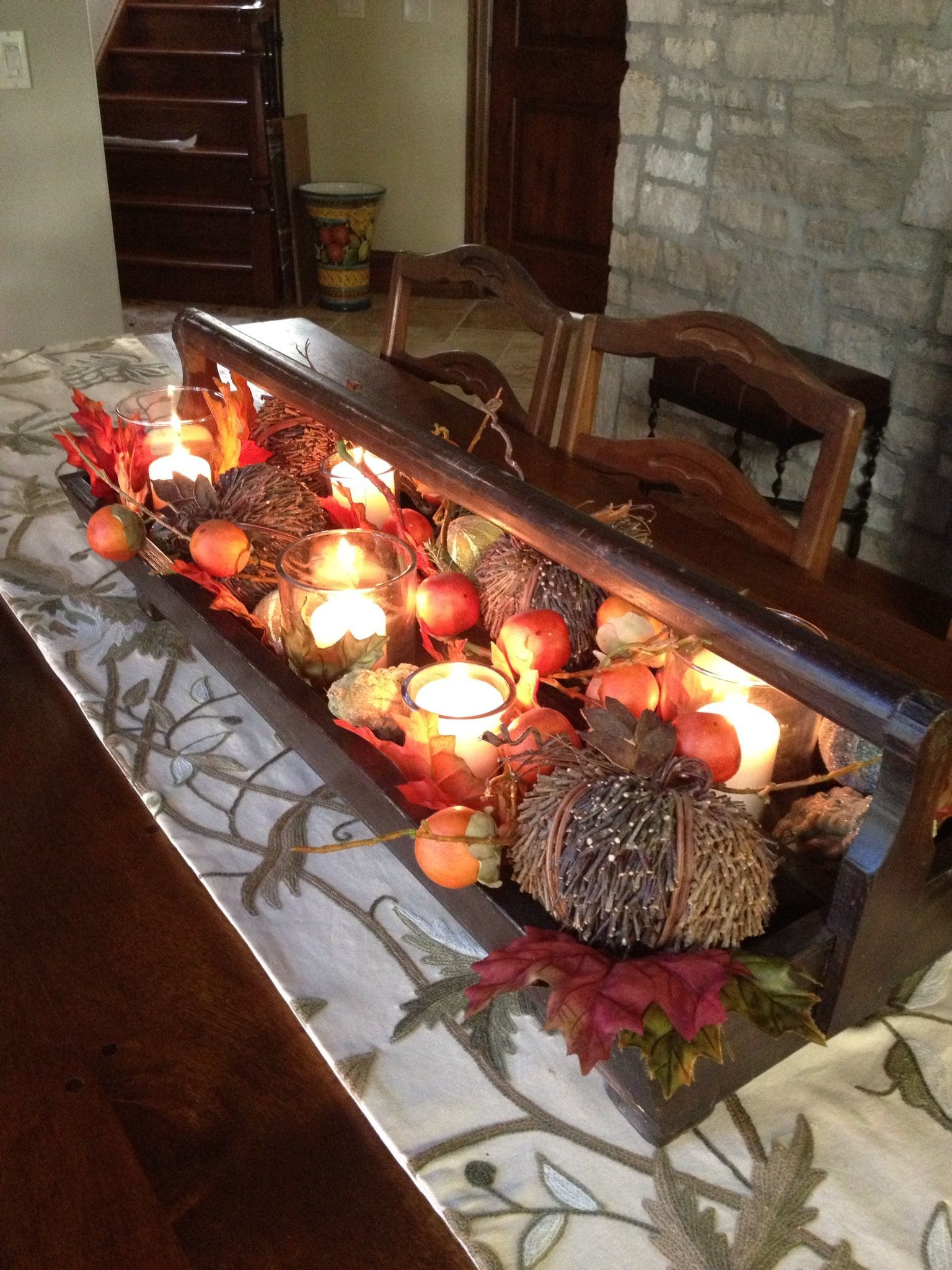 Fall centerpiece from old wood tool box holiday ideas