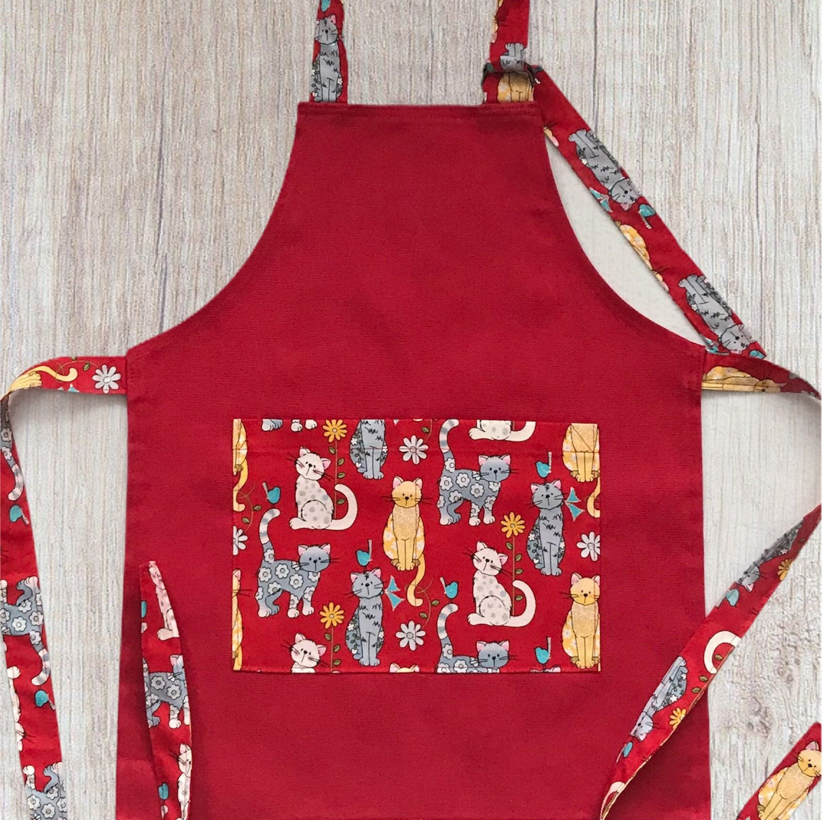 Kid S Aprons Children S Aprons Youth Aprons Aprons Cooking Aprons Kitten Aprons Cat Aprons Red Aprons Girl S Aprons Kid S Cooking In 2020 Childrens Aprons Kids Apron Cooking Apron