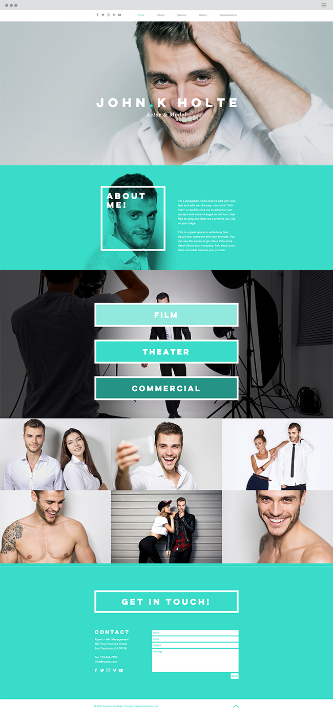 Actor and Model Website Template | Web | Pinterest | Pagina web