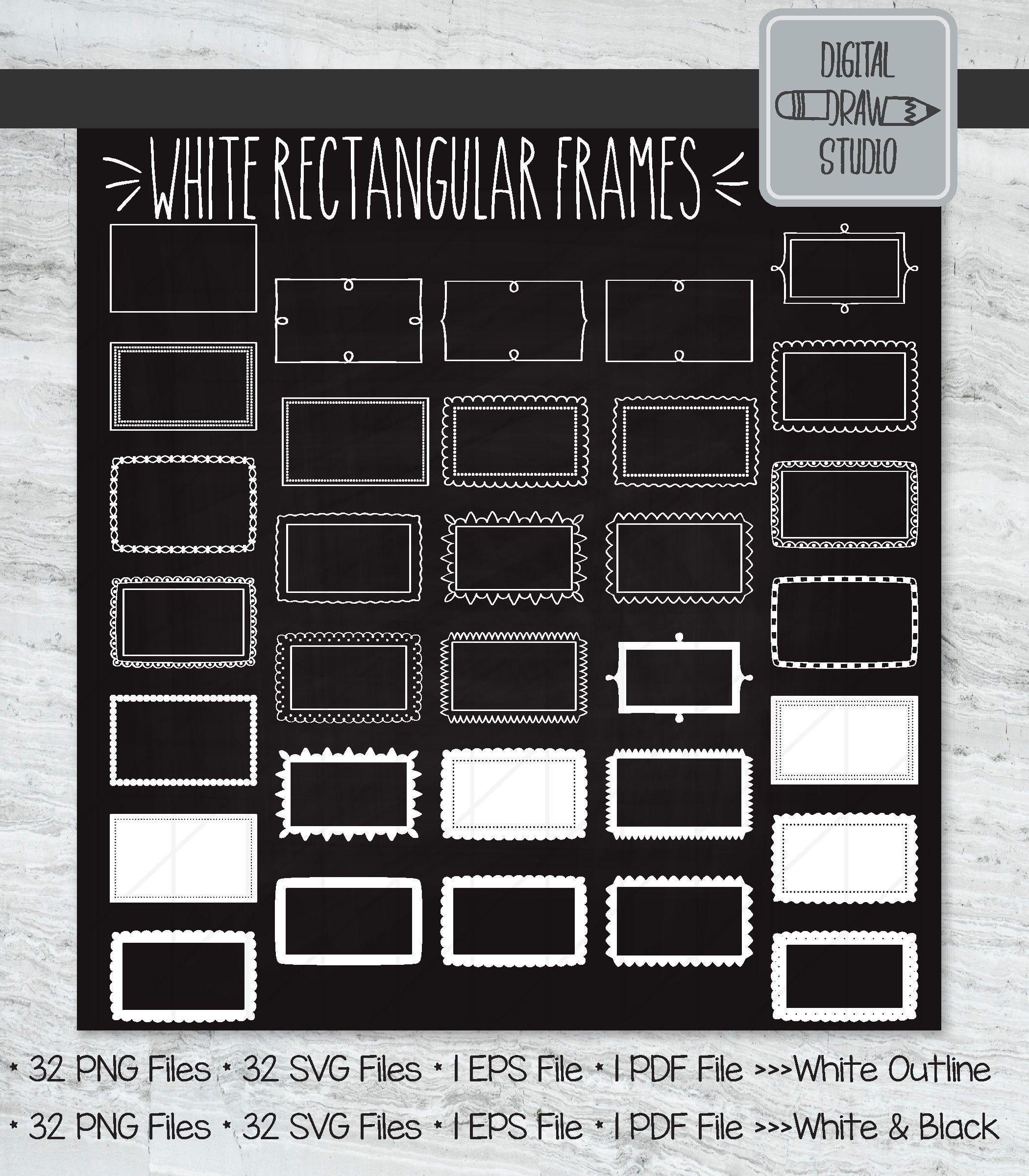 White Rectangular Frames Clip Art Hand Drawn Border Etsy Frame Clipart Clip Art How To Draw Hands