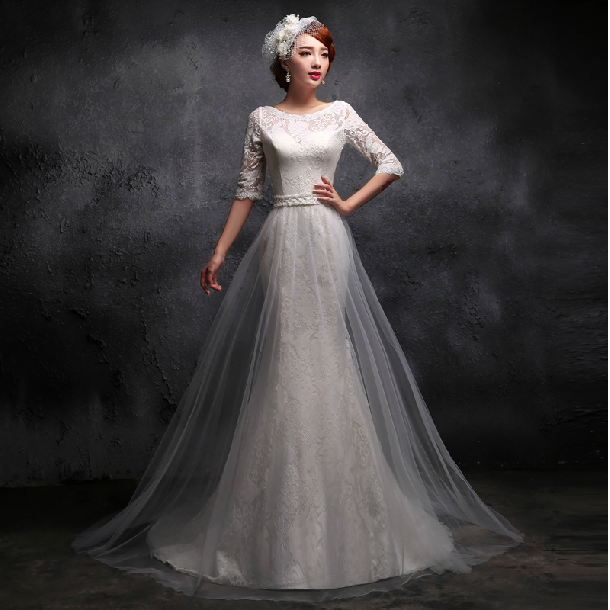 Womens Retro Elegant Y Five Sleeve Fishtail Lace White Tail Wedding Gown Party Evening Demitoilet