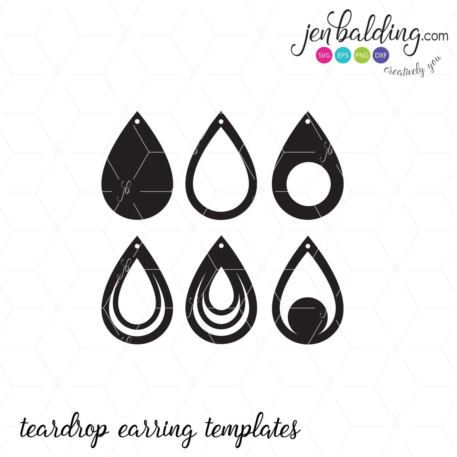 Teardrop Earring Templates Sofontsy Earringsprojects Leather Earrings Silhouette Earring Earring Cards Template