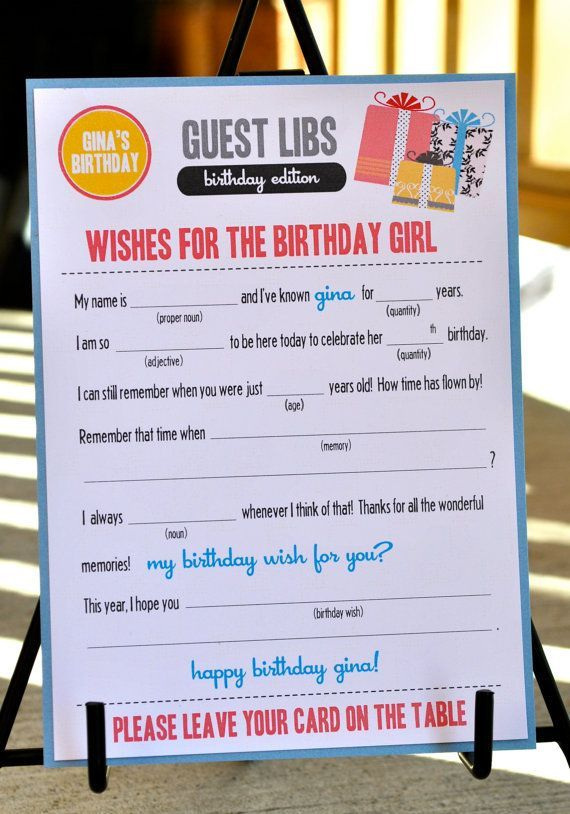 Our New Mad Libs Card Is A Fun Interactive Addition To Your Next Event Currently Made For BIRTHDAY But Can Easily Be Customized