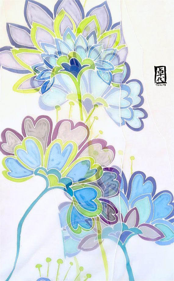 Silk Scarf Long Handpainted Gift for her by SilkScarvesTakuyo
