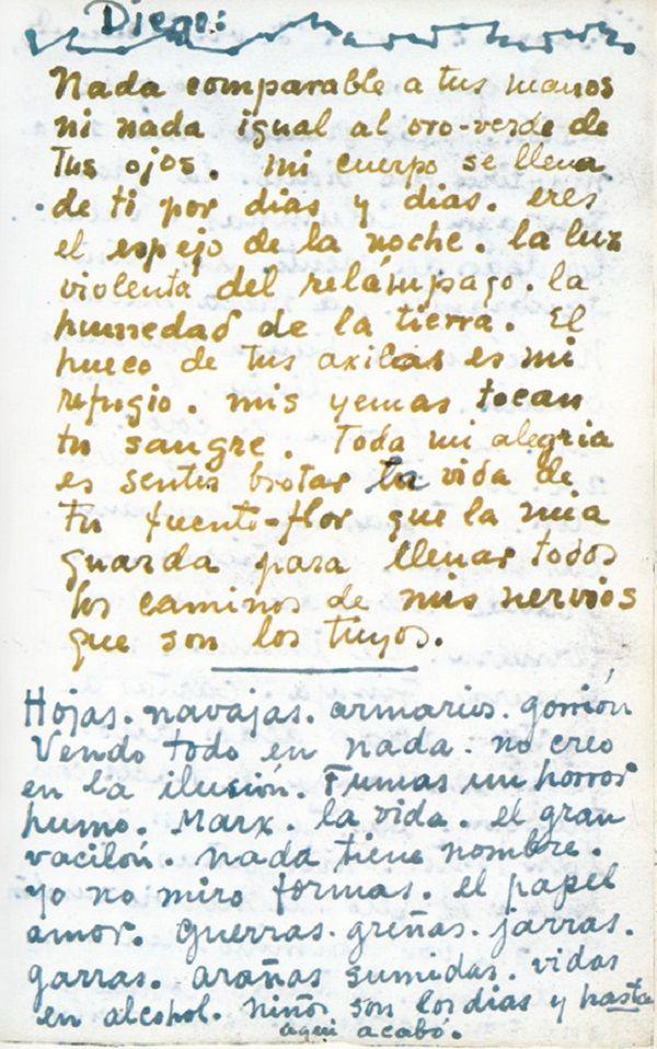 Os Manuscritos Apaixonados De Frida Kahlo Para Diego Rivera Cartas De Amor Frida Kahlo Frida E Diego