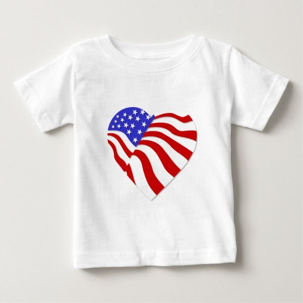 I Love U.S.A. Red White Blue Heart Baby T-Shirt # ...