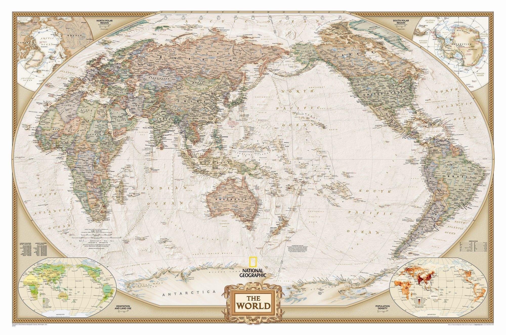 World Executive Pacific Centered Wall Map