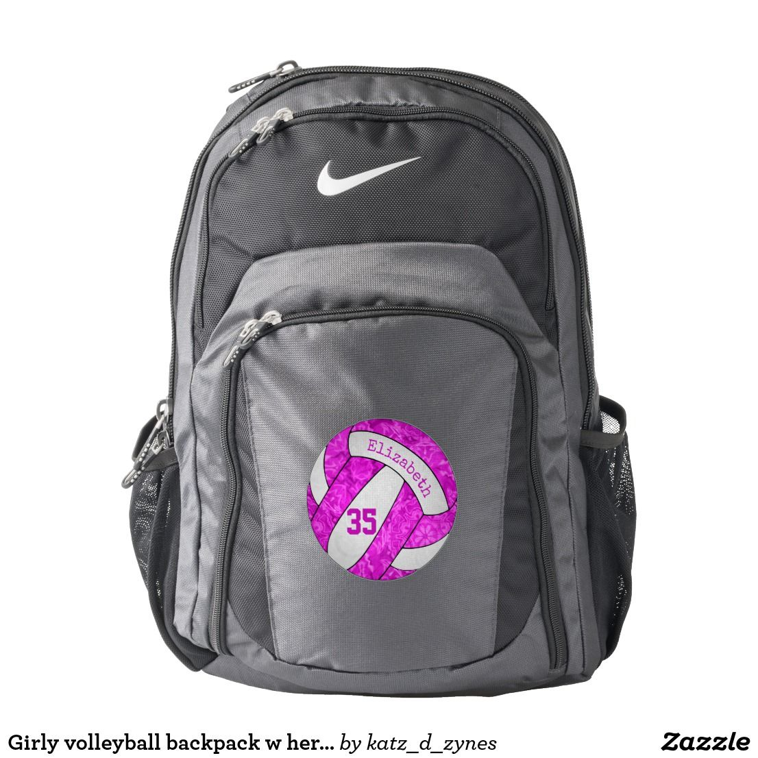 Girly Volleyball Backpack W Her Name Jersey Number Zazzle Com With Images Nike Backpack Stylish Backpacks Backpacks