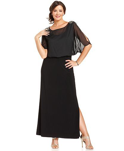Onyx Plus Size Dress, Short-Sleeve Beaded Blouson Gown - Plus Size ...