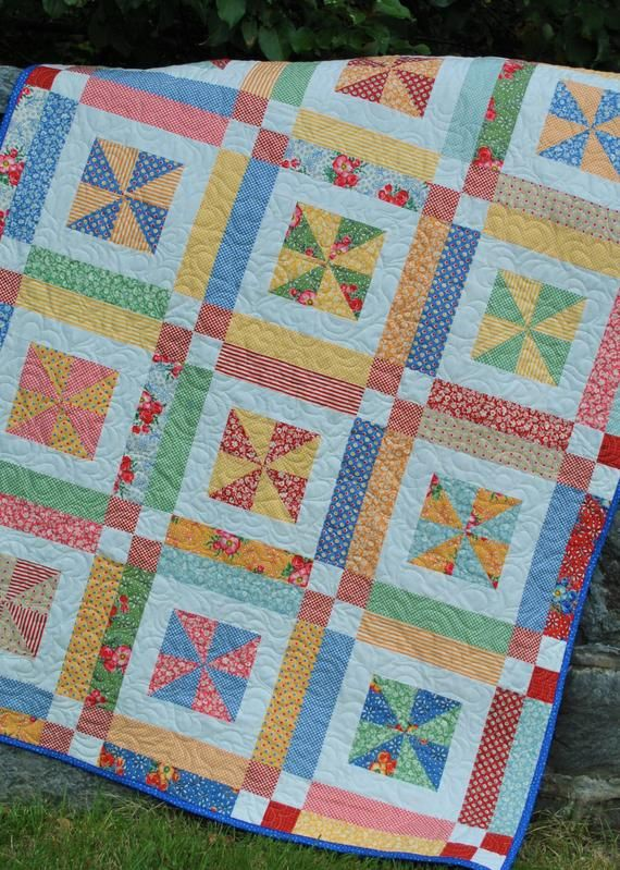 QUILT PATTERN , Baby or Lap …. Easy…one Layer cake or Fat Quarters, Lemonade Lollipop