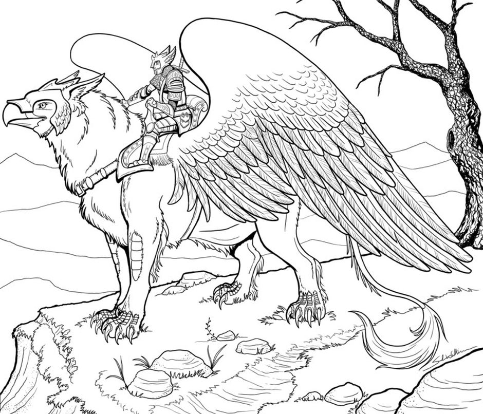griffin - hard coloring pages for adults | Animal coloring ...