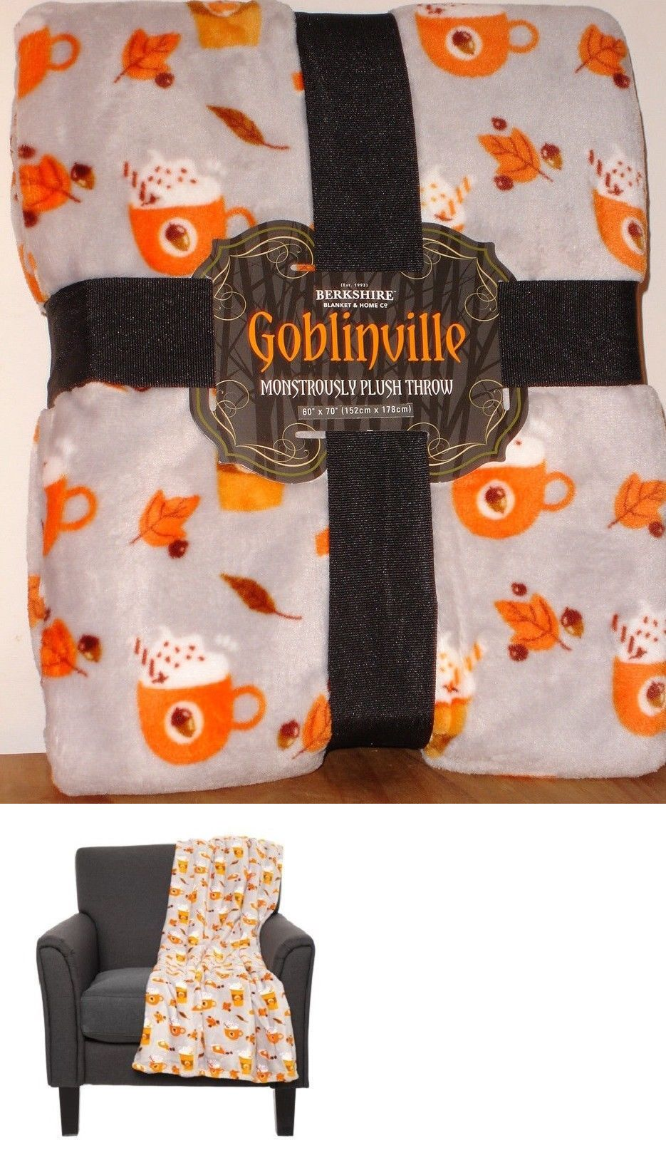 Berkshire Life Blanket Afghans And Throw Blankets 20549 Berkshire Goblinville Pumpkin