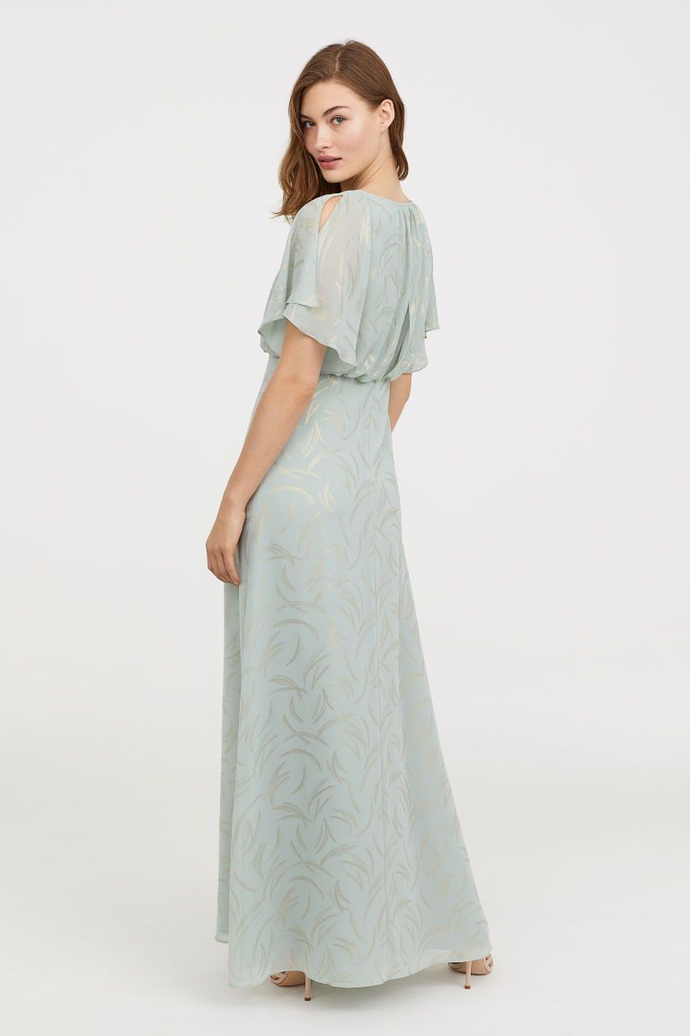 6f756e2e7fd1d H&M Long dress (light turquoise) in airy, woven fabric with a printed  pattern. Double layer at top, short sleeves with slits, concealed back zip  with ...