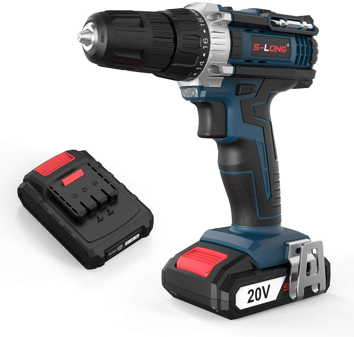 S Long 20v Cordless Drill Driver Set Power Drill 3 8 With 2 Batteries And Charger Led Bits In 2020 Cordless Drill Drill Driver Cordless Impact Drill