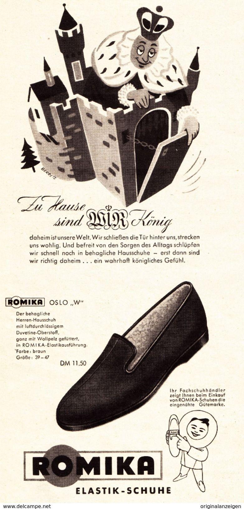 Original Werbung Anzeige 1955 ROMIKA OSLO HEIMSCHUH ca