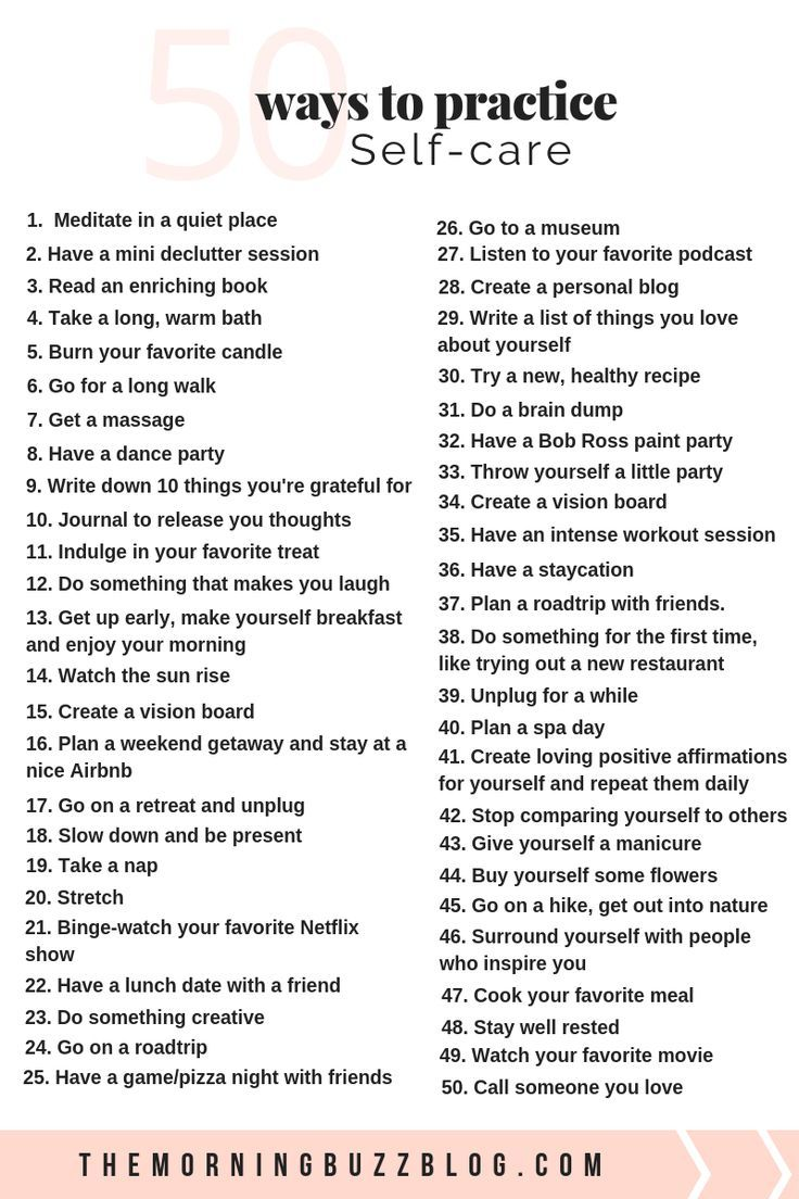 50 Simple Ways To Practice Self-Care 50 self-care ideas to improve your mental health for when life gets tough. Love yourself, boost your mood and reduce anxiety with these simple self-care activities and self-care tips.