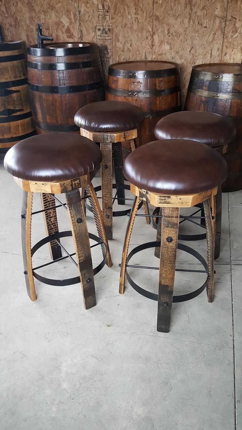Whiskey Barrel Stave Bar Stools With Cushioned Swivel Seats With