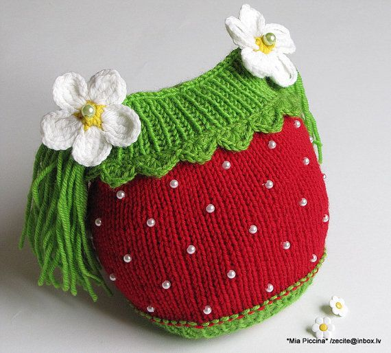 Knitted baby girls hat baby girls spring beanie by MiaPiccina