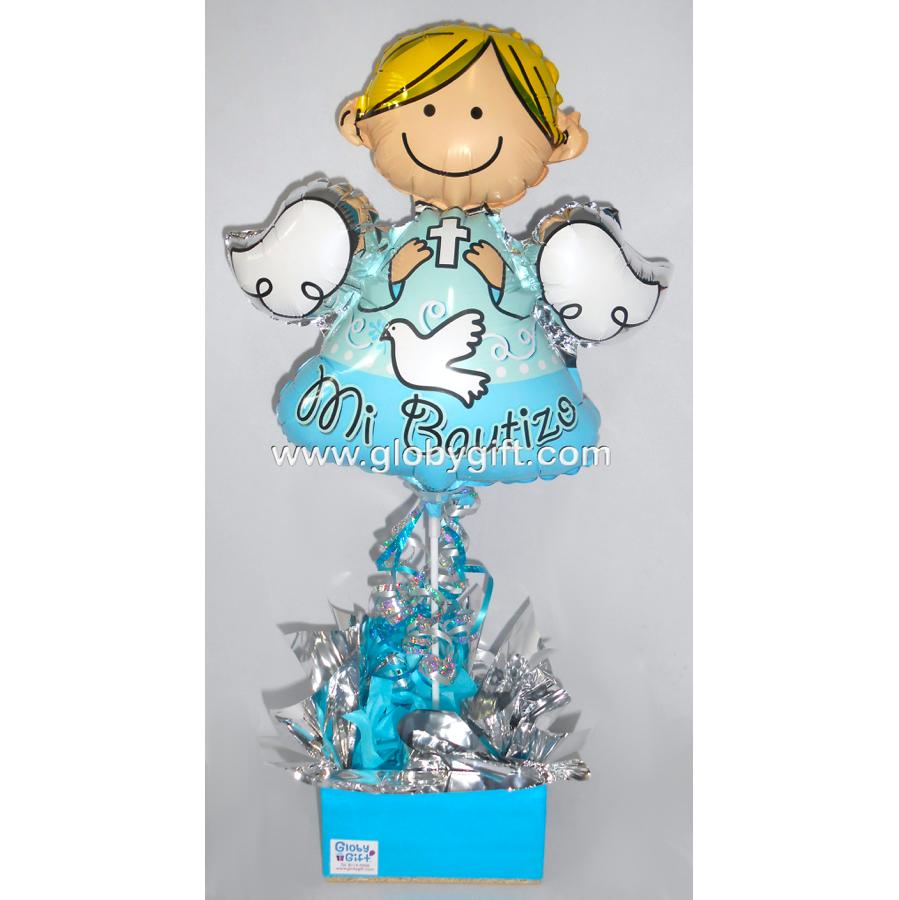 Centro de mesa con globos baby shower y bautizo