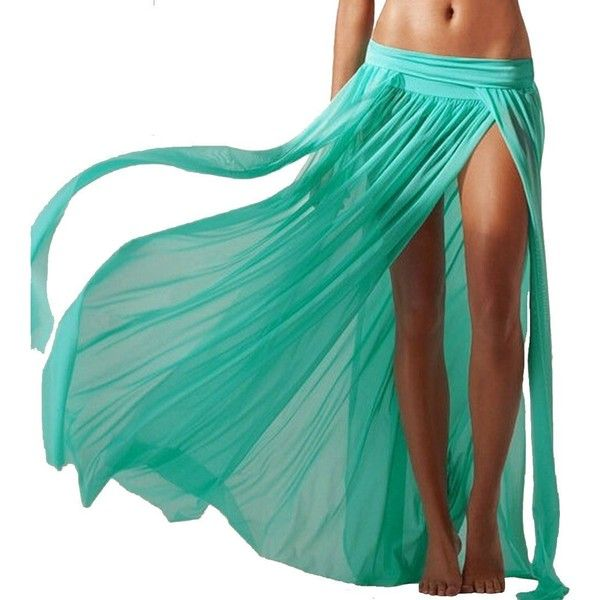 3c3b728964a53 JAKY Womens Sheer Sarong Side Slit Beach Skirt Maxi Swimsuit Cover Ups...  ( 11) ❤ liked on Polyvore featuring swimwear