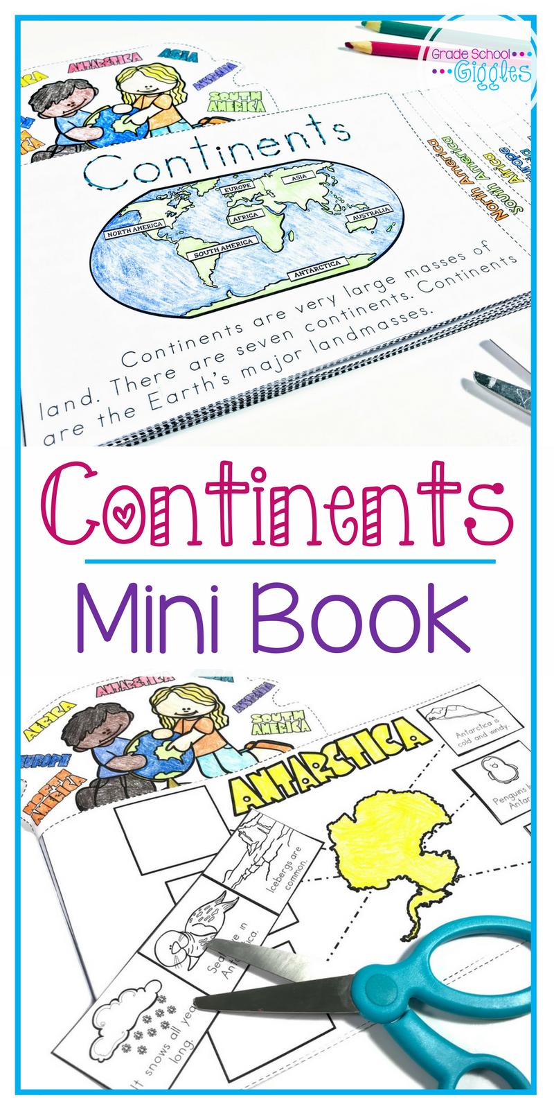 7 Continents Mini Book Grade School Giggles Continents