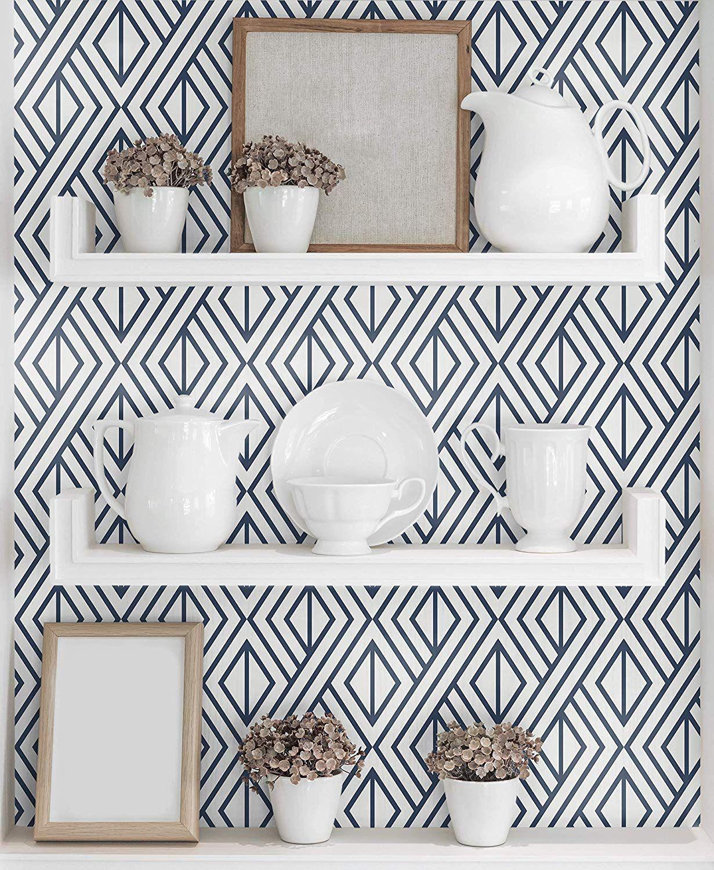 Amazon Com Nextwall Papel Pintado Con Diseno Geometrico De Diamante Color Azul Marino Gateway Kitchen Wallpaper Accent Walls In Living Room Accent Wall In Kitchen