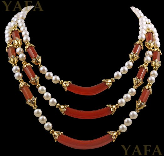 VAN CLEEF & ARPELS Diamond, Pearl and Carnelian Necklace - Yafa Jewelry