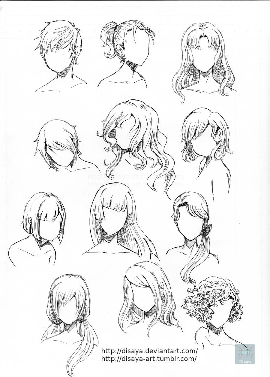 Hair reference 3 by Disaya.deviantart.com on @DeviantArt | Drawings, How to draw hair, Manga drawing