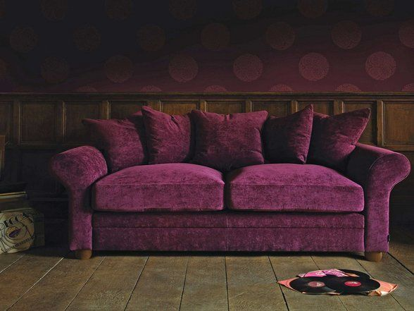 Curved arm cotton velvet sofa. | Violet, Purple, Plum ...
