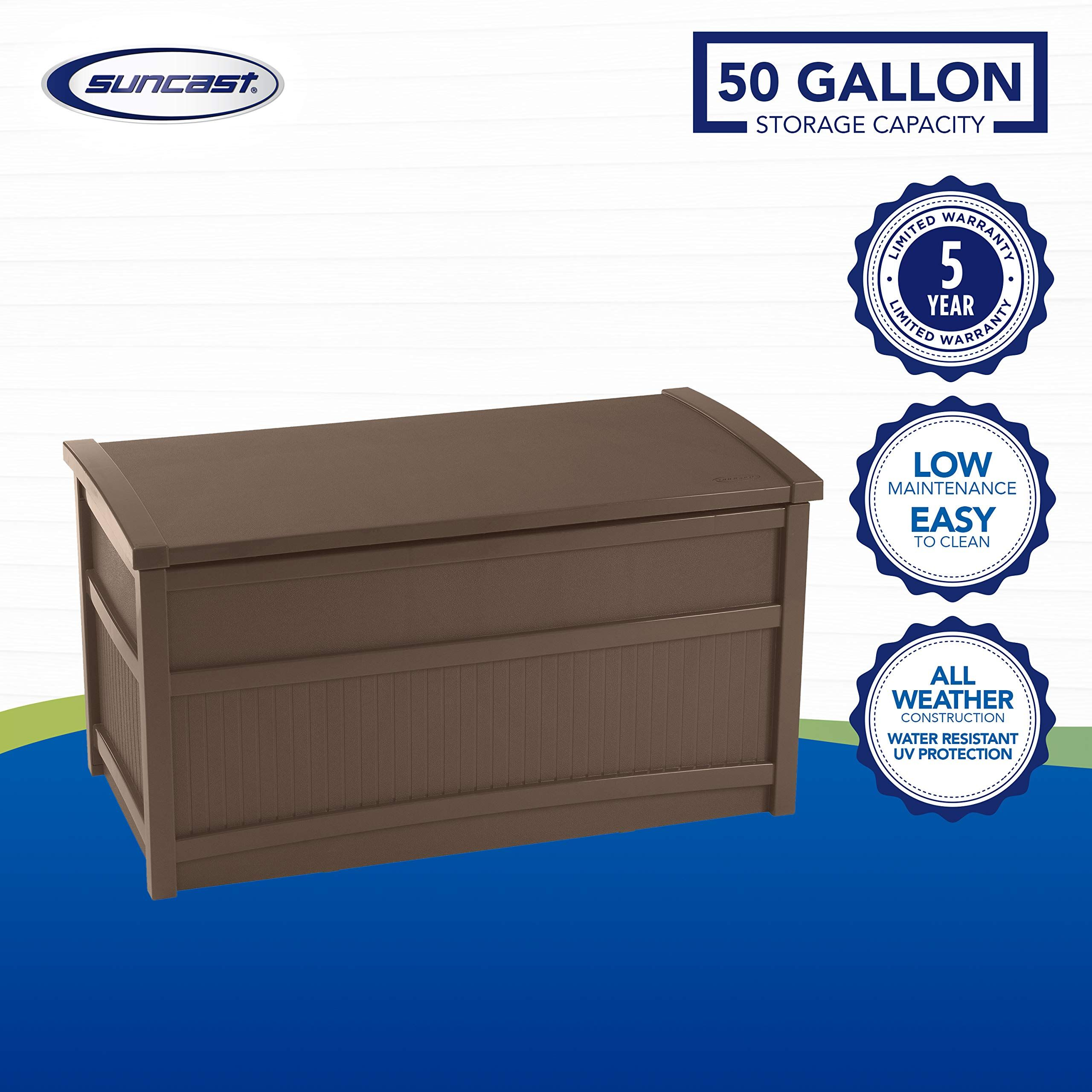 Suncast 50 Gallon Medium Deck Box Lightweight Resin Indoor Outdoor Storage Container And Seat For Patio Outdoor Storage Resin Outdoor Storage Resin Deck Box